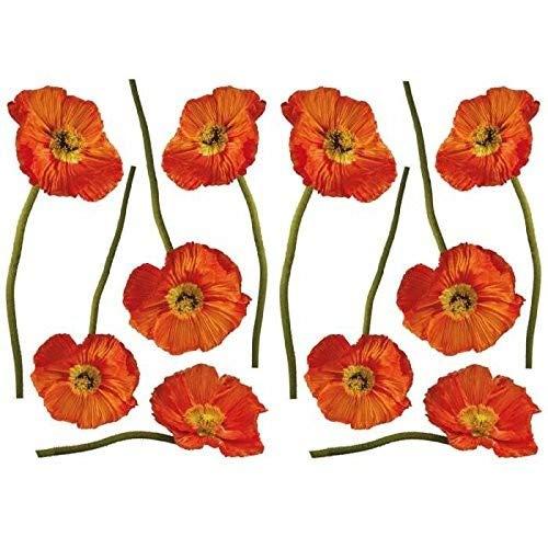 Décoration adhésive 157007 Pavots, Polyvinyle, Orange, 21 x 0,1 x 29,6 cm
