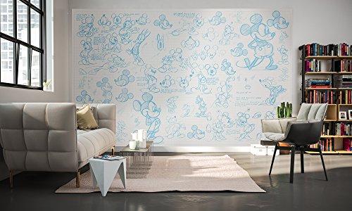 Komar - Disney  - Vlies Fototapete MICKEY SKETCHES - 400 x 250 cm - Tapete, Wand Dekoration, Micky Maus, Comic - 048-DVD4