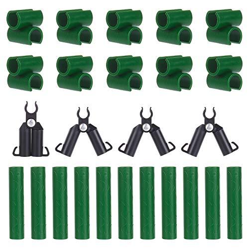 PandaHall 40 clips de conector ajustables para plantas, 3 tipos diferentes de conectores de plantas de plástico universal para estacas de plantas, soporte de tubos de conexión