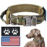 Tactical Dog Collar with USA American Flag, Camo Military Dog Collar Thick with Handle - Reflective K9 Collar Adjustable Heavy Duty Metal Buckle for Medium Large Dogs with 2 Patches