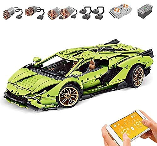 Zaclay Modelo de coche deportivo para tecnología de bloques de construcción, coche con mando a distancia y motor, bloques de montaje grandes, compatible con tecnología Mould King 13057S