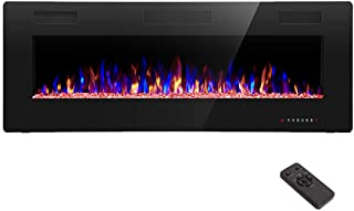 R.W.FLAME 50 inch Recessed and Wall Mounted,The Thinnest Electric Fireplace,Low Noise, Fit for 2 x 4 and 2 x 6 Stud, Remote Control with Timer,Touch Screen,Adjustable Flame Color and Speed