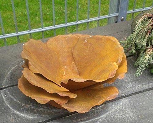 terracotta-toepfe-de Blüte ca. 30 cm aus Metall in Edelrost, Rost Deko für Garten und Wohnung Pusteblume Blüte