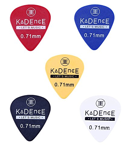 Kadence pack of 5 Guitar Picks 0.71mm Mixed Colours