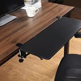 HOMBYS Large Desk Extender Tray Clamp On Keyboard Drawer Table Mount Armrest Shelf Stand Slide Computer Elbow Arm Support (25.59 x 9.84 inch) Desk Extender Clamp-On Keyboard Tray Wristrest Pad (Black)
