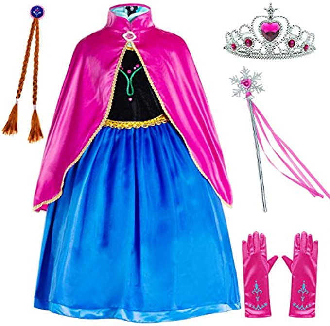Princess Costumes Birthday Party Dress Up for Little Girls/Long Sleeve with Cape
