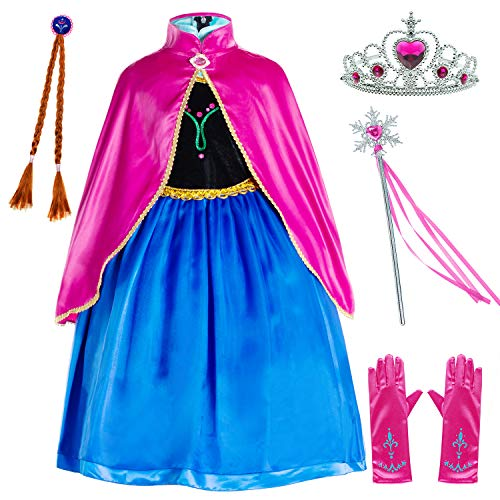 Party Chili Princess Costumes Birthday Party Dress Up for Little Girls/Long Sleeve with Cape,Wig,Crown,Gloves 4T 5T (120cm)