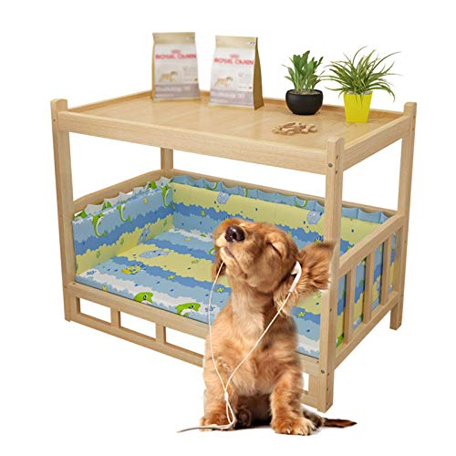 JLXJ Wood Pet Dog Bed with Washable Removable Mattress, Wooden Elevated Deluxe Double Layer Dog Sofa Cot, for Indoor Outdoor (Color : Blue, Size : Small)