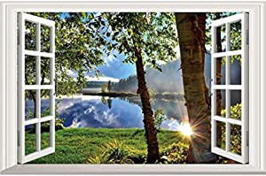 DNVEN 24 x 16 inches 3D Fake Window Wall Decals Lake and Sunshine Window Scenery Wall Stickers Faux Window Frame Decors Removable Vinyl Murals for Bedrooms