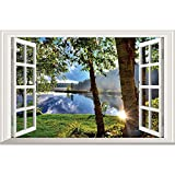 Home Find 3D Fake Windows Wall Stickers Peaceful Lake Sunshine Through the Woods Scenery Decor Frame Window Removable Vinyl Art Murals Bedroom Living Room Home Decals 23.6 x 15.7 inches