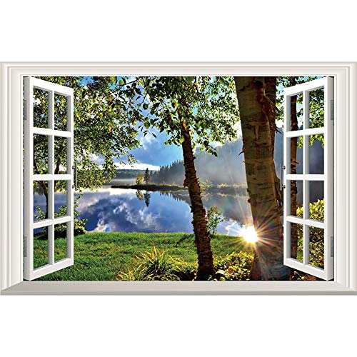 DNVEN 3D Fake Window Wall Decals Lake and Sunshine Window Scenery Wall Stickers Faux Window Frame Decor Removable Vinyl Murals for Bedroom 24 x 16 inches
