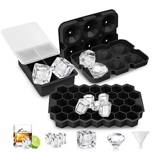 UOON Eiswürfelform,3 Stück Silikon Eiswürfelbehälter mit Deckel BPA-Frei,Diamant Eiswürfelschalen+Quadratischen Eiswürfel Form+Bienenwabe Ice Cube Tray für Whisky,Cocktail,Saft,Babynahrung,Schwarz
