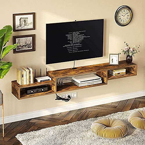 Rolanstar Wall Mounted Media Console with Power Outlet 59', Rustic Floating TV Stand Component Shelf, Entertainment Storage Shelf for Living Room, Rustic Brown