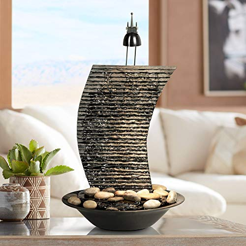 Water Ripple Japanese Zen Indoor Table-Top Water Fountain with Light 17 1/4