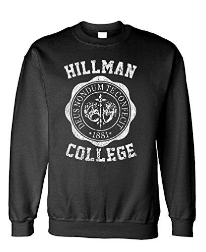 The Goozler Hillman College - Retro 80s Sitcom tv - Fleece Sweatshirt, S, Black