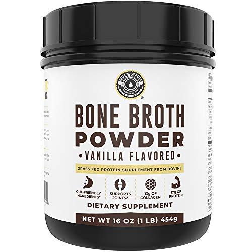 Bone Broth Protein Powder Vanilla 16oz, Grass Fed, Non-GMO Ingredients, Gut-Friendly*, Dairy Free Protein Powder, Low Carb, Keto Friendly Left Coast Performance