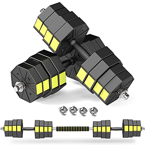 PANMAX Adjustable Dumbbells Barbell Set of 2, UP to 44/66/88 lbs Free Weight Set with Connector, 3 in 1 Dumbbell Barbells Set for Home Gym Fitness Exercises for Men/Women (Black&Yellow 88lbs)