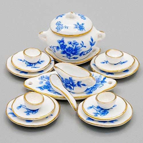 Odoria 1/12 Miniatura 17PZ Vajilla Porcelana con Flor Azul Cocina Accesorio para Casa de Muñecas