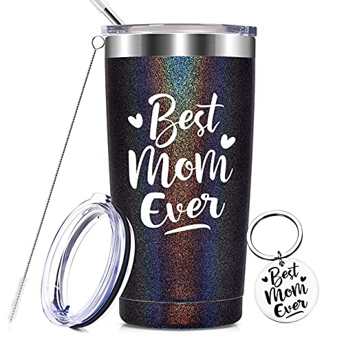 Best Mom Ever - Unique Birthday Mothers Day Christmas Gifts for Mom from Daughter, Son - Best Thank You Gifts for Mama Insulated Mug, 20 oz Mom Tumbler Cup with Keychain, Glitter Charcoal