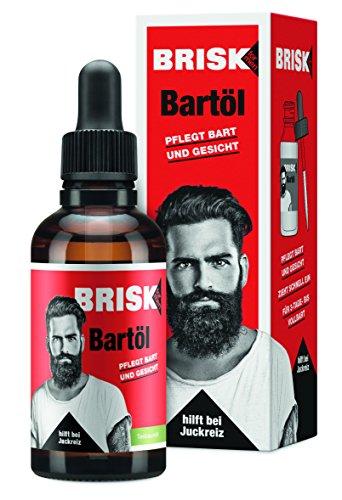 BRISK Bart-Öl für Herren, mit Teebaumöl für entspannte Haut & weiche Barthaare, schnell einziehend, fettet nicht, Gesichts- & Bartpflege für Männer, 2 x 50 ml