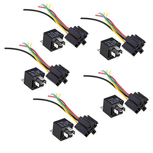 SODIAL (R)5 Relais Repetiteur 5 Broches 12V 30/40A + 5 Prise Cable pour Voiture Automobile