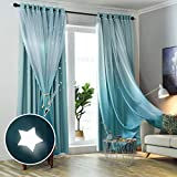 Hughapy Star Curtains Ombre Blackout Curtains for Kids Girls Bedroom Living Room Double Layer Star Cut Out Sparkle Blackout Gradient Window Curtains, 1 Panel -(52W x 84L, Blue)