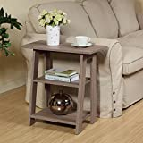 Ladder Chairside End Table Rustic Grey Oak - Set Newspapers, Coffee, or Books on This Classic Design; Perfect for Living Rooms or Reading nooks - Small, Grey 11450RG