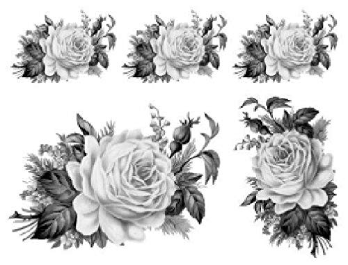 VERITS for Vintage Image Black White Cabbage Rose Furniture Transfers Decoupage Decal FL528 Tole Decals & Transfers - Image Sizes is C - 1 Large + 4 Medium