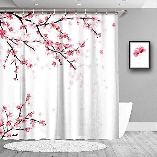 LIVILAN Kirschblüten-Duschvorhang mit 12 Haken, Sakura-Stoff, dekorativer japanischer Blüten-Duschvorhang, 182,9 x 213,4 cm