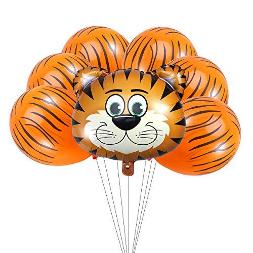 Amosfun 7 unids Conjunto de Globos de Tigre Globos de Animales Gigantes Látex y Globos de Aluminio Kit de Accesorios de Foto para Fiesta de Cumpleaños Festival