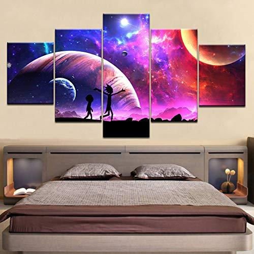 jjshily 5 stück Poster leinwand Rick and Morty Cartoon Stern Himmel mond Wand Poster Kunst malerei für zu Hause Wohnzimmer Dekoration, 40x100