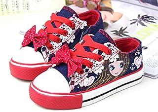 SandQ baby Girls Navy Blue Canvas Printed Shoe