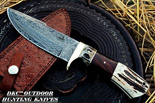 DKC Knives (30 5/18) DKC-716 Banchee Fixed Blade Damascus Steel Bowie Hunting Knife Knife (Damascus Steel Blade)