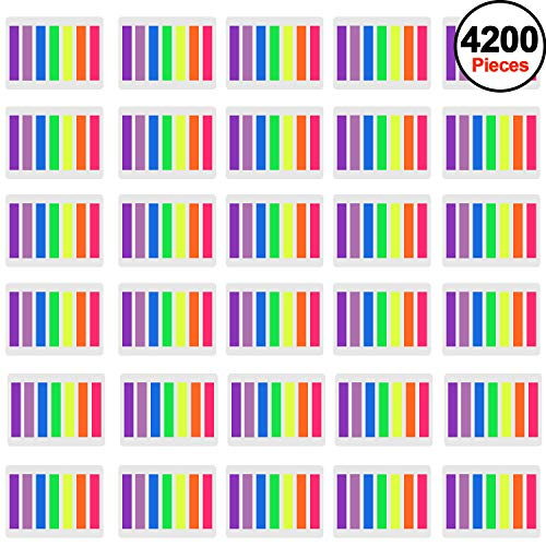 SIQUK 4200 Pieces Flag Tabs Colored Page Markers Sticky Index Tabs Page Flags, 30 Sets 7 Colors