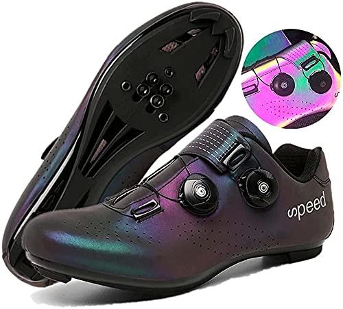 KUXUAN Zapatillas de Ciclismo de Carretera para Hombre - Zapatillas de Spinning con Zapatilla Peloton de Cala Compatible con SPD y Delta para Hombre,Color-39EU