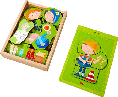 HABA 304641 - Holzpuzzle Bunter Berufe-Mix, Puzzle-Box mit 24 Teilen zum...