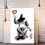 Imprimir En Lienzo 60x90cm Sin Marco Banksy Canvas Street Print Obra de arte o dinero
