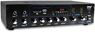 Pyle Professional Powered Amplifier & Bluetooth Receiver Stereo Audio System, FM Radio, (2) 1/4'' Microphone Input Jacks, MP3/USB/SD/AUX Playback, LCD Display ID3 Tag Readout 600 Watt (PT506BT)