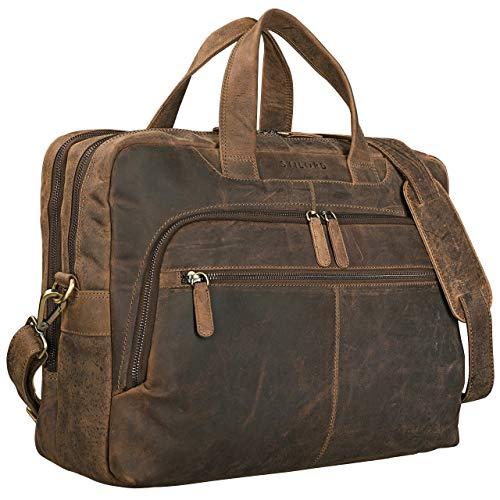 STILORD 'Lias' Bolso Mensajero Cuero para portátil 15,6 Pulgadas Bolsa Bandolera Grande Hombre y Mujer Maletín Bolso Negocios de auténtica Piel, Color:marrón - Medio