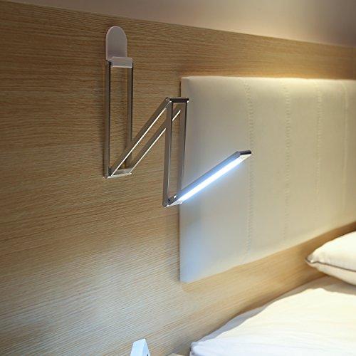 AUKEY Lampada Comodino Ricaricabile, Lampada LED Portatile, Dimmerabile e Multiforme, 3W, 2 Livello di Luminosità, Sospesa da Gancio Adesivo (Argento, LT-ST7)