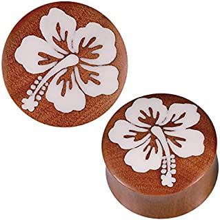 Chic Net Plug marrone SAWO legno bianco Bone Inlay Hibiscus fiore tribale Expander