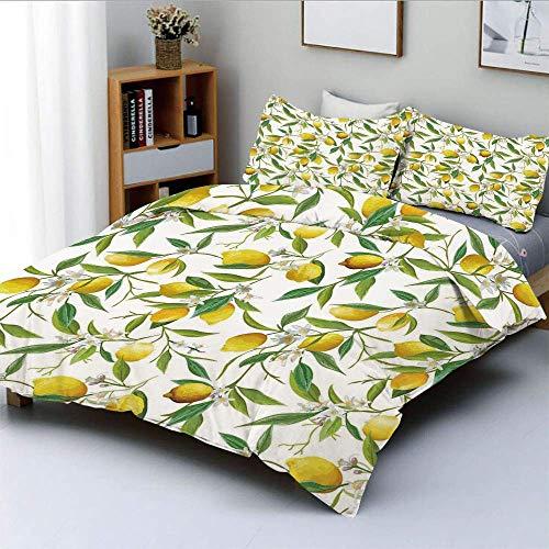 Juego de funda nórdica, floración, limón, planta leñosa, romance, hábitat, cítricos, fondo fresco, juego de cama decorativo de 3 piezas con 2 fundas de almohada, verde helecho, amarillo, blanc