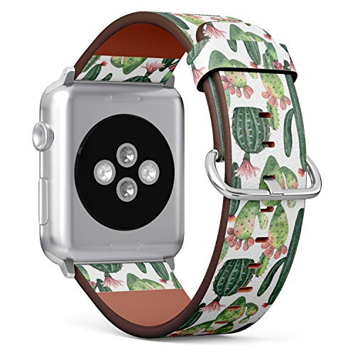 Compatible with Big Apple Watch 42mm & 44mm (Series 5, 4, 3, 2, 1) Leather Watch Wrist Band Strap Bracelet with Stainless Steel Clasp and Adapters (Watercolor Cacti Succulent)