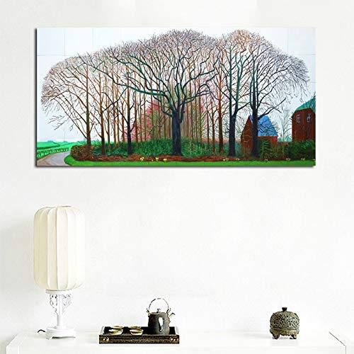 yaofale Kein Rahmen David Hockney ländliche Landschaft Malerei Bäume und Blumen Leinwanddruck Poster für Wohnzimmer Wand dekorative Malerei 60x120cm