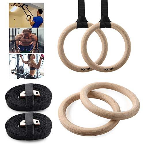 PELLOR Holz Gym Ringe, Premium Turnringe Ringe Gymnastik Holzturnringe mit Buckles Straps Tragender 400kg