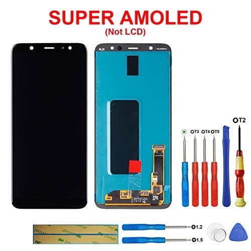 swark Super AMOLED Display compatible con Samsung Galaxy A6 + (2018) SM-A605FN, SM-A605G Negro (sin marco) LCD pantalla táctil digitalizador Assembly cristal + herramientas