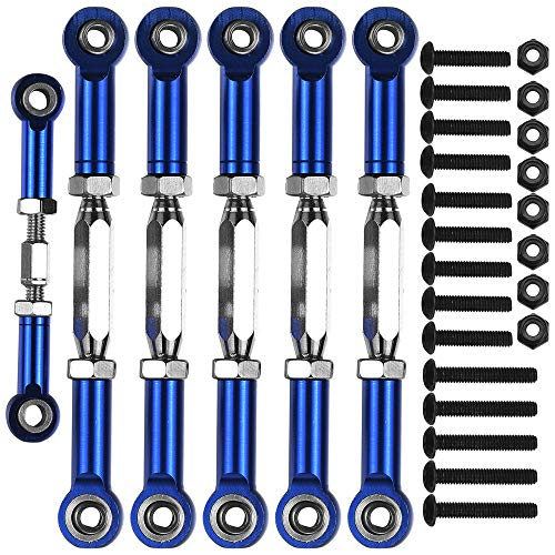 7-Pack Adjustable Alloy Turnbuckles Aluminum Camber Toe Links Set for 1/10 Traxxas Slash 2WD RC Truck Upgrade Hop-Up Parts