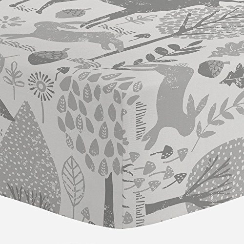 Carousel Designs Gray Woodland Animals Crib Sheet - Organic 100% Cotton Fitted...
