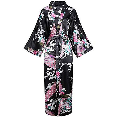 HAIGAFEW Bata De Baño Estampado De Flores para Mujer Bata De Kimono Lencería Ropa De Dormir Larga Informal Albornoz Vestido Ropa De Casa De Satén Sexy Ropa De Dormir-13