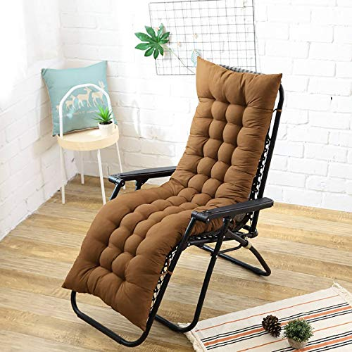 N/D Cojín Largo sólido para reclinable Silla de Mimbre Mecedora Plegable Grueso Jardín Tumbona Asiento Cojín del sofá Sofá Tatami 48x155 cm marrón
